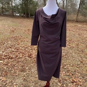 PORTO DRESS PURPLE SHIFT DRAPED NECK SIZE 1-S